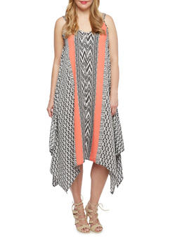 Plus Size Abstract Print Dress with Handkerchief Hem - 9476056127220