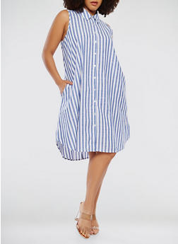 Plus Size Striped Shirt Dress - 9476056127558