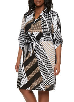Plus Size Abstract Print Shirt Dress - 9476056129054