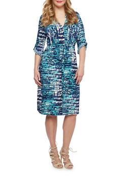 Plus Size Shirt Dress in Abstract Print - 9476056129194