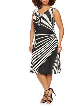 Plus Size Abstract Print Swing Dress with Lace-Up Scoop Neck - 9476056129365