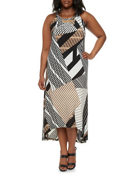 Plus Size Sleeveless High-Low Dress with Mixed Striped Print - 9476056129429