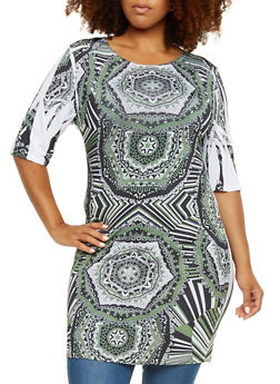 Plus Size Dashiki Print Dress with Scoop Neck - 9476058936450