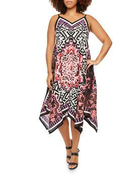 Plus Size Printed Midi Dress with Sharkbite Hem - 9476063509060