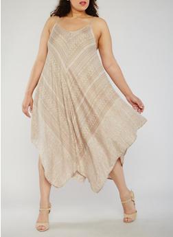 Plus Size Aztec Print Dress with Hanky Hem - 9476063509116