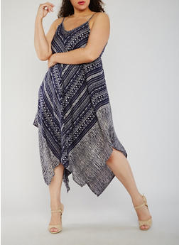 Plus Size Aztec Print Dress with Hanky Hem - 9476063509116