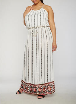 Plus Size Printed Maxi Dress with Waist Tie - IVORY - 9476068701864