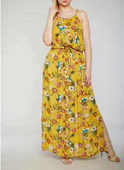 Plus Size Printed Maxi Dress with Waist Tie - MUSTARD - 9476068701864