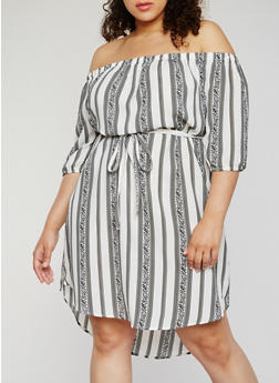 Plus Size Off the Shoulder Striped Dress - 9476068701877
