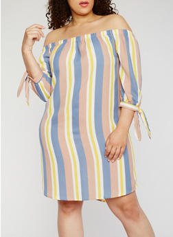 Plus Size Striped Off the Shoulder Dress - 9476068701882