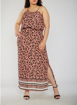 Plus Size Printed Maxi Dress with Metal Collar - 9476068701907