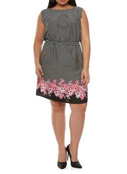 Plus Size Polka Dot A-Line Dress with Floral Trim - 9476068708250