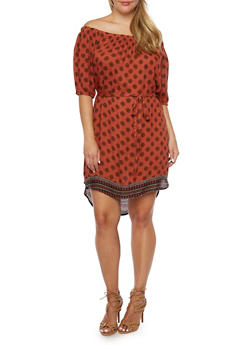 Plus Size Off-the-Shoulder Dress in Medallion Print - 9476068708771