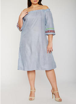 Plus Size Off the Shoulder Striped Dress with Embroidered Trim - 9476070651785