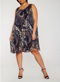 Plus Size Paisley Print Shift Dress - 9476070654232