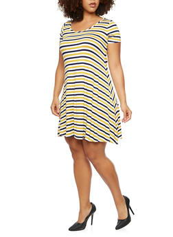 Plus Size Striped Skater Dress - MUSTARD/NAVY - 9476072249081