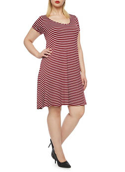 Plus Size Striped Skater Dress - BURGUNDY/OFF WHITE - 9476072249081