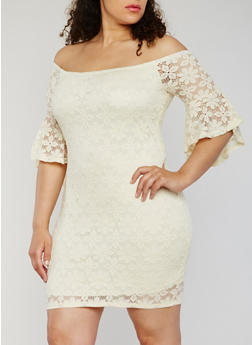 Plus Size Off the Shoulder Lace Mini Dress - 9476073552213