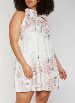 Plus Size Sleeveless Floral Halter Neck Dress - 9476073702243