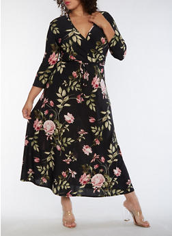 Plus Size Floral Faux Wrap Maxi Dress - MAUVE/BLK - 9476074010091