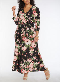 Plus Size Floral Faux Wrap Maxi Dress - 9476074010091