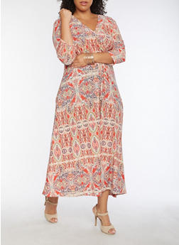 Plus Size Floral Faux Wrap Maxi Dress - CORAL - 9476074010091