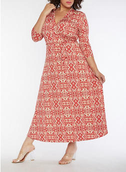 Plus Size Printed Faux Wrap Maxi Dress - 9476074010094