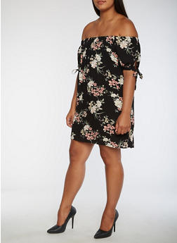 Plus Size Floral Print Off the Shoulder Dress - 9476074093007