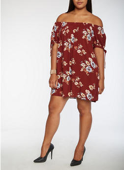 Plus Size Floral Print Off the Shoulder Dress - 9476074093007