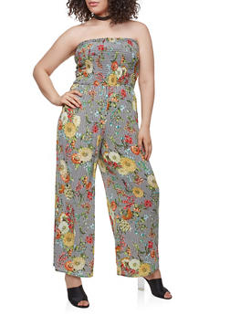 Plus Size Striped Floral Jumpsuit - 9478056129241