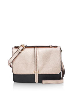 Metallic Two Tone Crossbody Satchel - 9502041657607