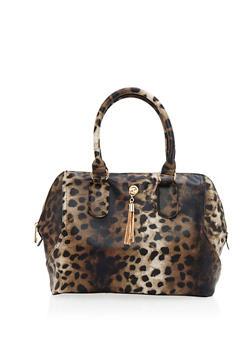 Textured Faux Leather Leopard Print Satchel - 9502041657658