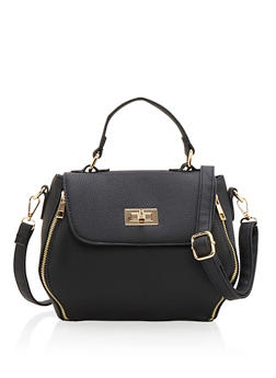 Small Crossbody Satchel with Metal Accents - 9502060142039