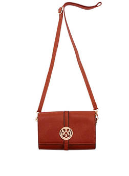 Faux Leather Crossbody Bag with Medallion Accent - 9502060142112