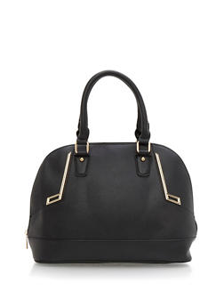 Faux Leather Bowler Bag with Metal Accents - 9502060147210