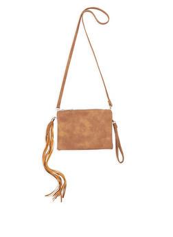 Double Zip Tassel Crossbody Bag - 9502061595403