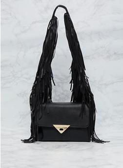 Faux Leather Fringe Shoulder Bag - 9502061595980
