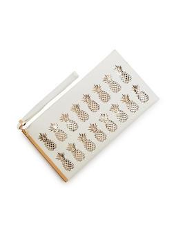 Faux Leather Lasercut Pineapple Clutch - 9502061596034