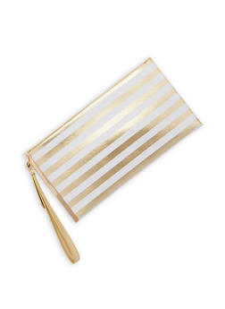 Striped Metallic Edge Clutch with Wrist Strap - 9502061596054