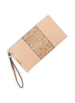 Faux Leather Glitter Clutch - 9502061596058
