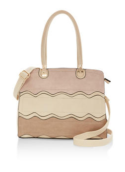 Faux Leather Waves Satchel Bag - 9502073610076
