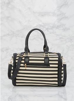 Striped Canvas Satchel Bag - 9502073610357