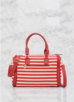 Striped Canvas Satchel Bag - 9502073610357