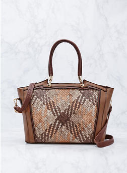 Woven Satchel Bag with Removable Strap - 9502073610358