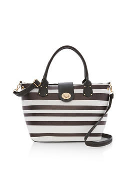 Striped Satchel Bag - 9502073611550