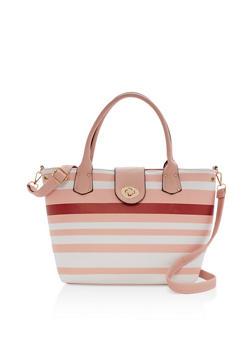 Striped Satchel Bag - 9502073611550