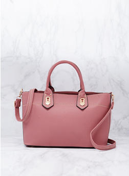 Faux Leather Satchel Bag with Removable Strap - 9502073611880