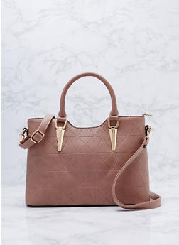 Embossed Faux Leather Satchel Bag - 9502073892063