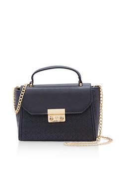 Woven Faux Leather Crossbody Satchel Bag - 9502073895001