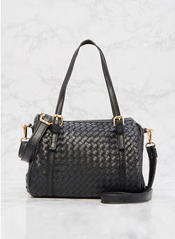 Faux Leather Woven Bowler Bag - 9502073895015